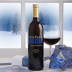 Personalized Happy Hanukkah Wine Art-Menorah