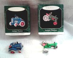 HALLMARK ANTIQUE TRACTORS 2 KEEPSAKE ORNAMENTS - 2 and 3 in SERIES with BOX