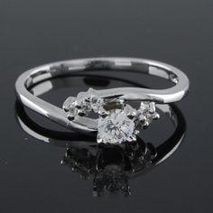 1/3 ct Round VVS Diamond Platinum Plated  Engagement Ring #Engagement