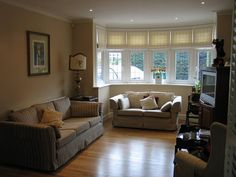roman shades for windows | Linen roman blinds in bay window in Totteridge , North London