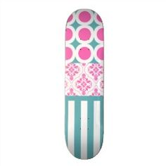 Cotton Candy Pink Blue Circles Stripes Damask Coll Custom Skate Board | Skateboards for Girls