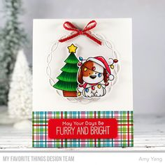 Stamps: Happy Pawlidays   Die-namics: Happy Pawlidays, Blueprints 13, Linked Chain Circle Frames  Amy Yang  #mftstamps