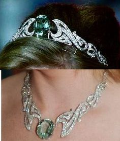 Wessex Aquamarine & Diamond Tiara/Necklace. Made its debut in Royal scene in 2005 when Sophie, Countess of Wessex wore to Coronation festivities of Prince Albert II of Monaco. Designer & creator unknown, though, its been rumored that it was designed by Prince Edward, Earl of Wessex & created by using pieces already within Royal Family but again, just rumors. Consists of large central Aquamarine gem & scrolled waves of diamonds to either side. It converts to beautiful necklace.