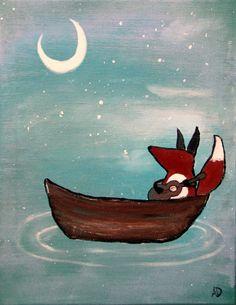 Fox Painting Storybook Kids Wall Art Nursery Decor by andralynn, $60.00