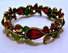 Red Floral Bracelet Jewelry by CreationsByJanetUSA on Etsy, $29.00