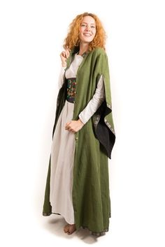 Long linen coat with the sleeves - Steel Mastery