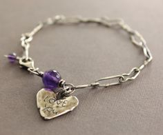Heart charm sterling silver bracelet with vintage chain and amethyst stone - Romance - Love you bracelet