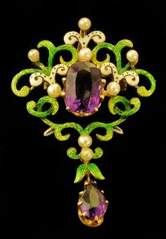 Victorian Amethyst and seed pearl brooch in the colours of the Suffragettes.