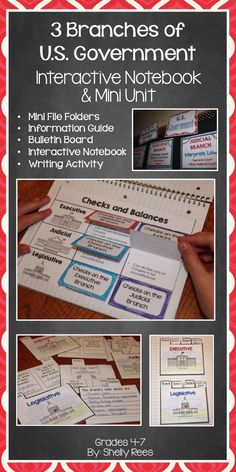 3 Branches of Government Interactive Notebook and Mini Unit. Love all the parts of this unit, especially the foldables and the bulletin board! Perfect for upper elementary and middle school!                                                                                                                                                                                 More