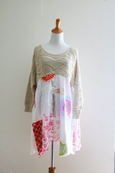 M sheer art to wear dress knit embroidery upcycled by SaidoniaEco