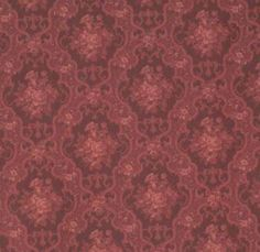 Burgundy English Rose miniature wallpaper - could work in a library or dining room scene