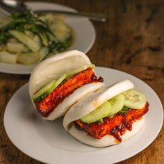Spicy Tofu Gochujang Buns with Scallions and Cucumber #VEGAN