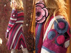 Motif Jacket, Vogue Knitting Crochet This motif-laden coat by Jenny King is crocheted in Kauni Wool 82 Solids by KauniRYN. Crochet Coat, Crochet Fall, Crochet Shirt, Crochet Jacket, Crochet Motif, Crochet Clothes, Crochet Patterns, Vogue Knitting, Vanessa Montoro