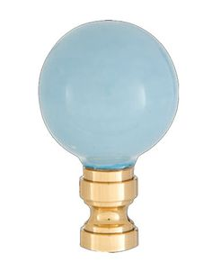 Smooth Ceramic Design, Light Blue Ball Finial, Solid Brass Brass Base 11232 | Antique Lamp Supply
