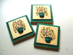 Set of 3 Painted Nail Bouquet Wood Plaques di lookonmytreasures, $18.00