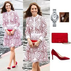 25 September 2016  Kate looked effortlessly stylish in £4,000 Alexander McQueen red and white broderie anglaise dress with tiered skirt.  She carried a £640 Miu Miu bow-embellished red suede clutch and wore pair of £165 Russell and Bromley red suede Pinpoint pointed toe court.  She kept her accessories simple, only a pair of diamond and pearl drop earrings and £4,850 Ballon Bleu de Cartier watch.