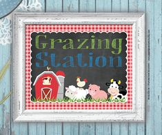 Farm Animals Food and Drink Party Sign - Grazing Station - Farm Birthday - Barnyard - Red Gingham - Farm Animal Party, Farm Animal Birthday, Farm Birthday, Boy Birthday Parties, Birthday Ideas, Petting Zoo Birthday Party, Birthday Animals, Aries Birthday, Farm Party Foods
