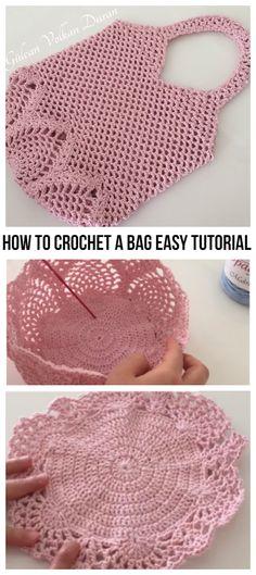 Besten 6 Stricken : How To Crochet A Bag Easy Tutorial Crochet Market Bag, Crochet Tote, Crochet Handbags, Crochet Purses, Crochet Crafts, Crochet Stitches, Crochet Projects, Free Crochet, Knit Crochet