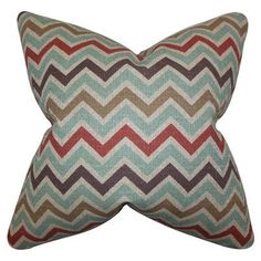 "The Pillow Collection Howel Zigzag Cotton Throw Pillow Color: Blue, Size: 24"" x 24"""