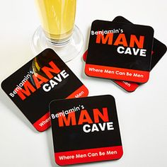 Man Cave Personalized Coaster Set of 4