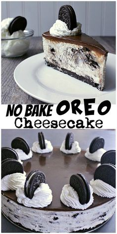 No Bake Oreo Cheesecake. Crushed Oreo crust, loaded Oreo cheesecake, slathered with chocolate ganache and topped off with Oreos and whipped cream. Does anyone need more in life?