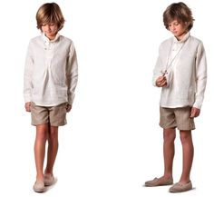 Traje camisa jaretas Comunion de La Pequeña Costura Boys Pajamas, First Holy Communion, Boy Shorts, Teen Fashion, Boy Outfits, Normcore, Sewing, Coat, Jackets
