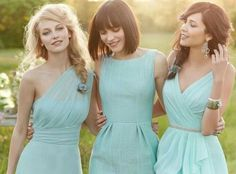 Blue bridesmaid dresses. Women should be able to pick out there own style of dress. I like the mix of styles. Color is pretty but will not work for me.
