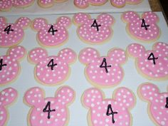minnie cookies | Happy Birthday Olivia! Three dozen pink Minnie Mouse cookies were just ...