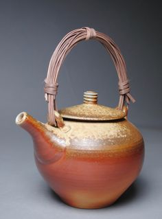 Wood Fired Teapot with Handmade Cane Handle E7 by JohnMcCoyPottery on Etsy