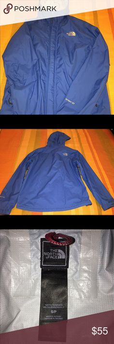 Northface Hyvent Jacket Gorgeous blue color NF jacket. I've gotten a lot of use or if it as you can see from the interior peeling. It's a Men's Small - fit better than the women's Medium at the time. No other wear outside of what is noted and in pictures. North Face Jackets & Coats