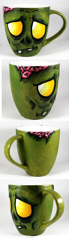 Handpainted Zombie Cup by NeverlandJewelry.deviantart.com on @deviantART