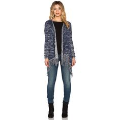 Central Park West Lawrence Drape Front Fringe Cardigan Sweaters &... ($173) ❤ liked on Polyvore featuring tops, cardigans, sweaters & knits, blue knit cardigan, fringe top, blue knit top, central park west and blue top