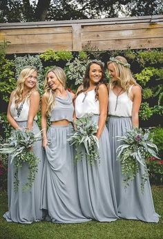 Boho Loves: Revelry - Affordable, Trendy, And Designer Quality . Boho Loves: Revelry - Affordable, Trendy, and Designer Quality boho bridesmaid dresses - Bridesmaid Dresses Beach Wedding Bridesmaid Dresses, Dusty Blue Bridesmaid Dresses, Beach Wedding Bridesmaids, Grey Bridesmaids, Wedding Gowns, Wedding Beach, Bridesmaid Separates, Casual Wedding, Alternative Bridesmaid Dresses