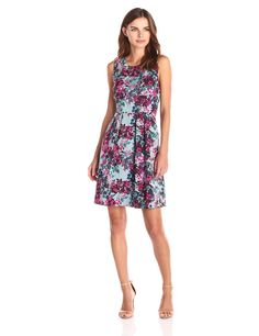 Lark & Ro Women's Printed Pim Fit and Flare Dress at Amazon Women's Clothing store: