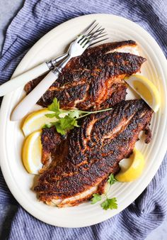 I love serving up this Cajun-Inspired Blackened Red Snapper with my dirty cajun cauliflower rice recipe and either roasted okra or a simple side salad! Fish Dishes, Seafood Dishes, Fish And Seafood, Seafood Recipes, Cooking Recipes, Vegetarian Recipes, Fresh Seafood, Main Dishes, Dinner Recipes