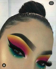Dramatic Eye Makeup, Makeup Eye Looks, Colorful Eye Makeup, Cute Makeup, Gorgeous Makeup, Pretty Makeup, Dramatic Eyes, Colorful Eyeshadow, Makeup Goals