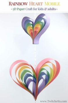 Create a spinning rainbow heart mobile using construction paper. Fun kids rainbow art project that is a perfect rainbow craft for preschoolers, kindergarteners, and kids of all ages! Crafts for kids How to make a fun heart mobile out of paper - Twitchetts Paper Crafts For Kids, Easy Crafts For Kids, Preschool Crafts, Art For Kids, Kids Fun, Kids Arts And Crafts, Simple Crafts, Classroom Crafts, Fun Crafts For Kids