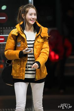 Yoona white jeans, stripped shirt