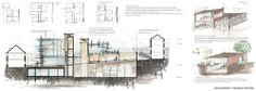 architecturesketch:  The spinal walkway - Watercolour strategic sectional drawing illustrating the public walkway. Sketches illustrating small moments within the proposal from the ritual of the last goodbye to the ritual of curiosity.