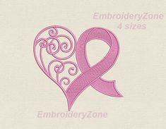 Curlz heart & Pink ribbon.Embroidery от EmbroideryZone на Etsy