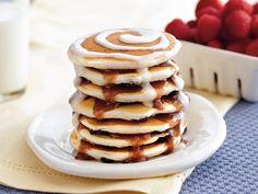 cinnamon roll pancake stacks