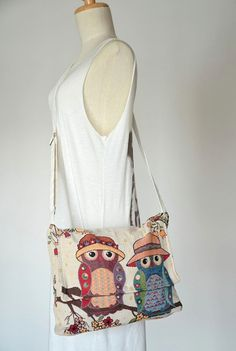 Owls Messenger Bag Boho Hobo Bag Satchel Bag Women's by Dollypun