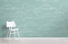 Create the perfect calming childs bedroom with this teal kids' cloud wallpaper, a simple and stylish feature wall design. How To Hang Wallpaper, Normal Wallpaper, Cloud Wallpaper, Photo Wallpaper, Feature Wall Design, Standard Wallpaper, Teal Background, Home Remodeling Diy, Home Improvement Projects