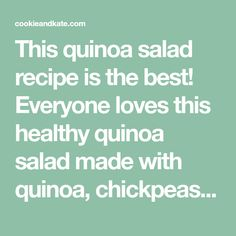 This quinoa salad recipe is the best! Everyone loves this healthy quinoa salad made with quinoa, chickpeas, red bell pepper, cucumber, parsley and lemon.
