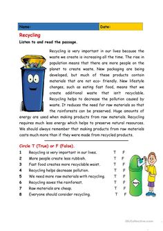 Recycling - English ESL Worksheets for distance learning and physical classrooms Reading Comprehension Activities, Reading Worksheets, Reading Fluency, Reading Passages, Reading Skills, Comprehension Strategies, Reading Response, Printable Worksheets, English Reading