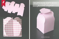 DIY Cupcake box template. Print out on color card stock paper, cut and assemble. Decorate with Yo Gabba Gabba DYI or readymade stickers.    Keep in mind that you can use your imagination and alter handle of box to go with party theme!