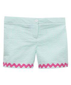 Teal Stripe Seersucker Shorts - Infant, Toddler & Girls #zulily #zulilyfinds