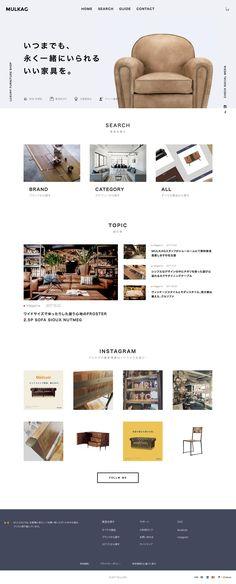 家具・インテリアの総合通販サイト|MULKAG【マルカグ】 : 81-web.com【Webデザイン リンク集】 Simple Web Design, Web Ui Design, Flyer Design, Simple Designs, Website Layout, Web Layout, Layout Design, Web Cafe, Web Japan