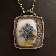 Contrariwise ramblings: Solitary Tree - Pendant with a Snake River Dendritic Agate