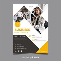 Template abstract business flyer with ph. Graphic Design Brochure, Letterhead Design, Powerpoint Design Templates, Flyer Template, Flyer A5, Conception Photoshop, Book Design Layout, Booklet Design, Design Layouts